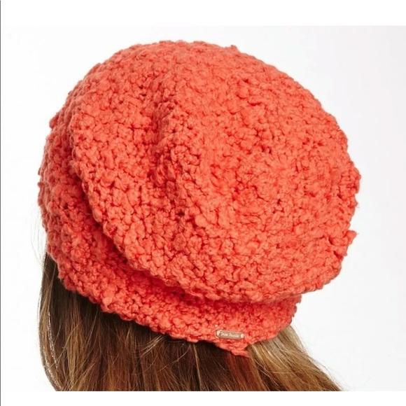 Free People Fuzz Tangerine Orange Knit Beanie Hat